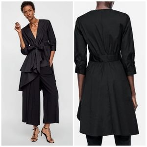 Zara Black Asymmetric Poplin Tunic Top